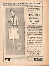 ▬► Patron Couture Supplément Écho de la Mode Robe Chemisier Taille 44 N°51 1961