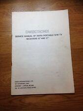 "Dwektronix Iskra 12"" &17""  Portable B/W Television Genuine Service Manual"