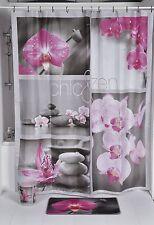 Rideau de douche en tissu fleurs inclus anneaux 180x200 cm modèle 2010