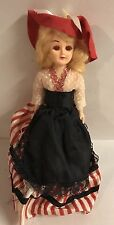 """Vintage Red Hat Doll 7"""" Antique Sleepy Eyes Striped Gown"""