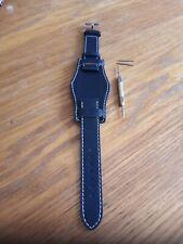 Men's Genuine Navy Blue Leather 18mm Bund Style Watch Strap