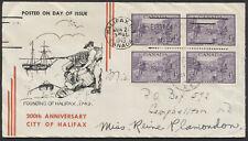 1949 #283 Halifax Bicentenary FDC, Block, Black-Red Stripes Cachet, Halifax