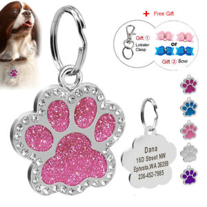 Bling Glitter Dog Tags Personalised Cute Paw Pendant Pet ID Name Number Engraved
