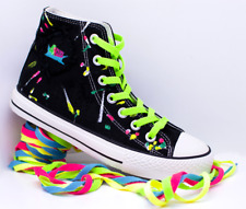 Women's Black High Top Canvas Shoe Hand Painted with 4 Sets Coloured Laces