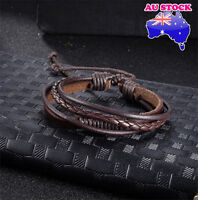 Fashion Women Men Leather  Multi-Layer Hand Adjustable  Bracelet (Brown)