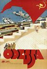 "Vintage Illustrated Travel Poster CANVAS PRINT Odessa Ukraine 24""X16"""