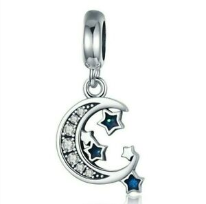 💖 Moon and Stars CZ Genuine 925 Sterling Silver Charm Bead Fit Bracelet Gift 💖