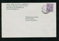 GB RAF POST OFFICE LAKENHEATH CDS on 3d 1953 to CUMBERLAND HOTEL...JACK MILLER