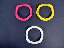(3) Vintage Plastic Stacking Wavy Bracelets Double Sided Design on White MOD