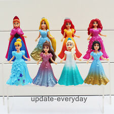8 pcs Princess Rapunzel Snow White Belle Aurora Set Action Figure Playset Toy