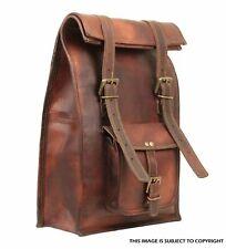 Roll Top Backpack Rucksack Rolling Bag Travel Bikers Bag Genuine Leather Bag