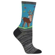 Festive Deer Hot Sox Trouser Crew Socks Teal New Women's Size 9-11 Stag Fashion*