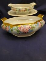 EXQUISITE HUTSCHENREUTHER SELB BAVARIA HAND PAINTED LUSTERWARE BOWL & SAUCE SET