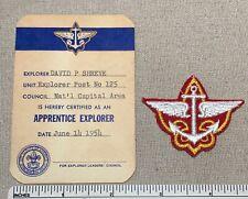 1950s APPRENTICE EXPLORER Advancement Rank Badge PATCH & CARD Post 125 Boy Scout