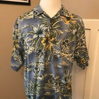 TOMMY BAHAMA Men's Short Sleeve Hawaiian Print Polo Shirt L Large Blue