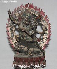 """9"""" Tibet Buddhism Bronze Painting Stand Buddha Yamantaka Yama Dharmaraja Statue"""