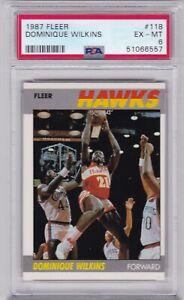 RG: 1987 Fleer Basketball Card #118 Dominique Wilkins Atlanta Hawks - PSA 6