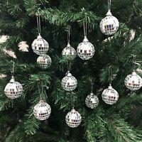 Christmas Disco Mirror Balls Baubles Silver Xmas Tree Wall Ornaments Decorations