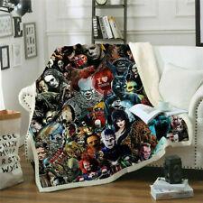 3D Print Sherpa Blanket Sofa Couch Quilt Cover Throw Fleece Velvet Horror Movie