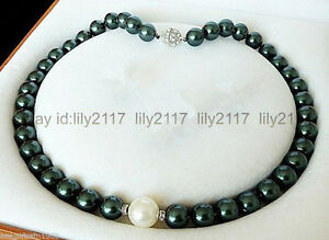 Long 16inches 8mm black & 10mm white round shell pearl beads necklaces