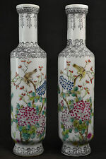 a Pair China Old Porcelain painting Flower & Look At Each Bird Rare Lucky Vase