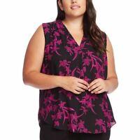 VINCE CAMUTO NEW Women's Plus Size Floral V-neck Blouse Shirt Top 3X TEDO