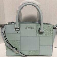 NEW Michael Kors Medium Selma Celedon Tile Patch Leather Satchel Handbag