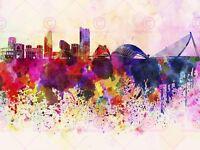 Painting Illustration Cityscape Paint Splash Skyline Valencia Canvas Art Print