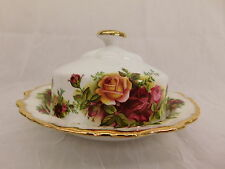 ROYAL ALBERT OLD COUNTRY ROSES COVERED BUTTER / CHEESE DISH BONE CHINA ENGLAND