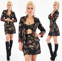 Italy Disfraz Mujer Chaqueta Blazer + Falda 2-teilig Traje Flores Print Negro S