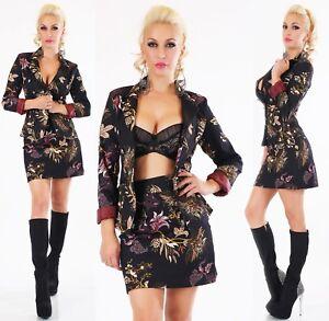 ITALY Damen Kostüm Blazer Jacke + Rock 2-teilig Anzug Blumen Print schwarz S M L