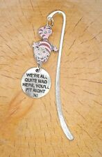 PINK CHESHIRE CAT WE'RE ALL MAD HERE CHARMS SILVER BOOKMARK ALICE IN WONDERLAND