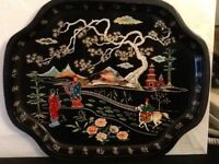 Vintage Baret Ware England Thin Chinese Landscape People Decorative Serving Tray