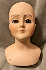 Byron Molds '82 Bisque Doll Head & Shoulder Repro Veta '84 Brown Glass Eyes 5''