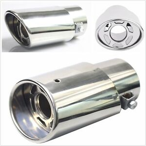 Universal Stainless Steel Car Round Exhaust Pipe Tip Tail Muffler Cover Silver