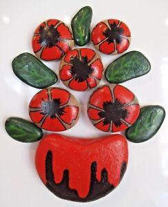 Hand painted rocks, stones, pebbles. Poppy flowers bouquet fridge magnets puzzle