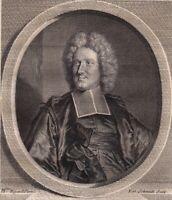 Portrait XVIIIe Jean Paul Bignon Abbé Prédicateur de Louis XIV Oratoire 1786