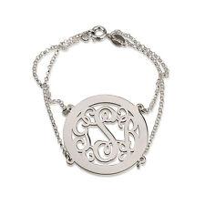 Monogram Frame Bracelet Personalized Double Chain Sterling Silver Vine Font