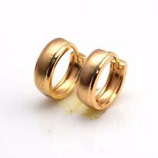 18k Yellow Gold Filled Earrings 13mm Frost Hoop Charm Huggie GF Fashion Jewelry