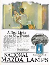 1920s BIG Vintage GE National Mazda Lamp Man Shaving Bathroom Decor Art Print Ad