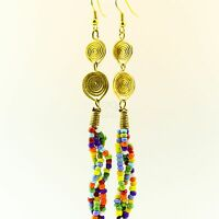 Handmade African Jewelry Multi Color Bead Strand Earrings 129-22