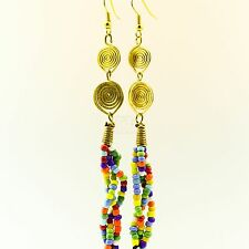 Handmade African Jewelry Multi Color Bead Strand Earrings 129-22
