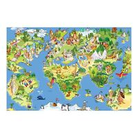 Children Animated World Map Atlas Vinyl Sticker Wall Art Decor (90x60cm)