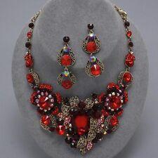 Elegant Chunky Garnet Red Bridal Pageant Formal Fashion Statement Necklace Set