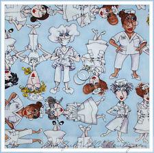 BonEful Fabric FQ Cotton Quilt Blue White VTG Scrub Top Uniform Dr Nurse Central