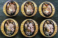 6 Czech Vintage (1950's) Glass Buttons #A683 - 24 CARAT GOLD FLOWERS