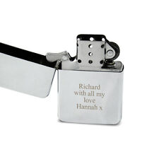 Personalised Silver Lighter - Engraved Free, Times New Roman Font - Birthdays