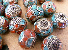 5x Tibétain Corail Turquoise Perles Tibet Népal Turquoise Coral BRASS BEADS No: B