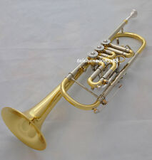 Top Super Rotary Trumpet Horn Gold Lacq. Bb Cupronickel tuning with case