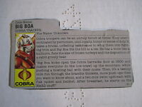 GI G I JOE FILECARD FILE 1987 BIG BOA COBRA TRAINER GRIZZLY BEAR VERSION 87